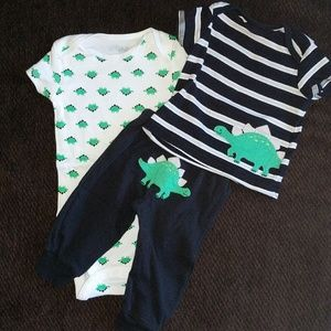 Matching Sets - Dino onsie and shirt/pant